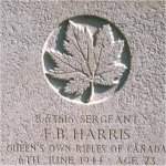Grave Marker – This photo of Sgt Harris' gravemarker was taken by Padre Craig Cameron of The QOR of C on June 6th, 2003.