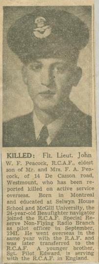 Newspaper Clipping – Flight Lieutenant Navigator John Williamson Frederick Peacock obit Montreal Star Aug 9 1944 courtesy McGill University archives
