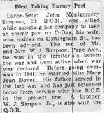 Obituary – This copy of Sgt. Simpson's obituary is from a Toronto paper in June 1944.