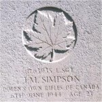 Grave Marker – This photo of Sgt Simpson's gravemarker was taken by Padre Craig Cameron on June 6th, 2003.