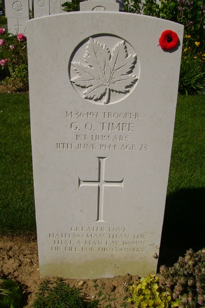 Grave Marker – Grave marker - Beny-sur-Mer Canadian War Cemetery - August 2012 Photo courtesy of Marg Liessens