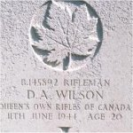Grave marker – This photo of Rfn Wilson's gravemarker was taken by Padre Craig Cameron on June 6th, 2003.