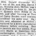 Newspaper clipping – This obituary of Rfn Wilson was obtained from a microfilm version of a Toronto newspaper from 1944.