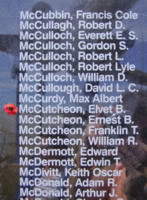 Memorial – Flight Lieutenant Elvet Baxter NcCutcheon is also commemorated on the Bomber Command Memorial Wall in Nanton, AB … photo courtesy of Marg Liessens