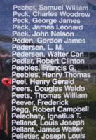 Memorial (Mistaken in photos) – Pilot Officer Douglas Waldo Peers is commemorated on the Bomber Command Memorial Wall in Nanton, AB … photo courtesy of Marg Liessens