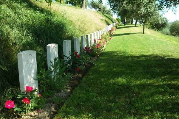 Grave Markers – Row of markers in the tiered Gradara War Cemetery - May 2013 … Photo courtesy of Marg Liessens