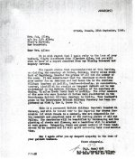 Letter – A letter from Ottawa to Allen's wife notifying her of his exhumation and reburial in an Imperial War Graves Commission cemetery in Berlin.    Source: Whitehouse via Library and Archives Canada