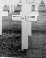 Origional Grave Marker – This picture of  John Allen's grave in Berlin War Cemetery was sent to his family.  It looks much more stark than the present stone.  All of his crew are buries here with one exception, R193139 John A Cobbett of Hamilton.  The Americans mistook him for an American airman and moved his body to  one of their cemeteries. Library & Archives Canada RG24 vol 24734 via R. Whitehouse