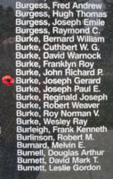 Memorial – Flight Sergeant Joseph Gerard Burke is also commemorated on the Bomber Command Memorial Wall in Nanton, AB … photo courtesy of Marg Liessens