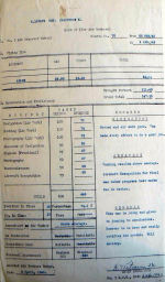 Document – Crawford's Service Report from #5 Air Observers School (Air Bomber). Ken did not do well as he is 16th out of 19 in the course.  is instructors comments are apt.  This was March of 1943.  