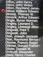 Memorial – Warrant Officer Class II Wallace Edward Charles Dillow is also commemorated on the Bomber Command Memorial Wall in Nanton, AB … photo courtesy of Marg Liessens