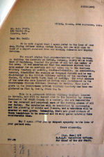 Letter – This letter from W/C Gunn to Doull's parents typifies the concern of the RCAF that next-of-kin always be kept current on the fate of their loved ones.  The on;y things that they never passed on to the NOK were the results of the exhumations and the conditions of identification of the bodies.  It was very difficult for the Graves Concentration Units and the Mobile Research & Enquiry Units to identify most of the bodies because the Germans ususally removed personal effects to storage before burial.  A crash of a 4 engined bomber loaded with fuel and explosives often left little to bury.  This was the case for F/L John Allen, the pilot of this aircraft.  You will notice this in some of the documents shown here.