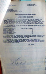 Document – This letter from J Sturch in London to the CO of the REU in Berlin shows some of the problems encountered while searching for and recovering aircrew postwar.  Cobbett, an RCAF airman was exhumed by the Amricans as one of their own and only discovered to be Canadian when the ID team found his RCAF rank and brevets (badges).  Cobbett was one of Doull's crew mates.  He is now in Choloy French Cemetery, English Section and the other crew are in Berlin.  