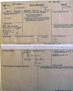 Document – The front of Dupuis' RAF Form 373.  This shows his basic personal information, except that his (and his parents) first language is French.  Source:Library & Archives Canada RG 24 via R. Whitehouse
