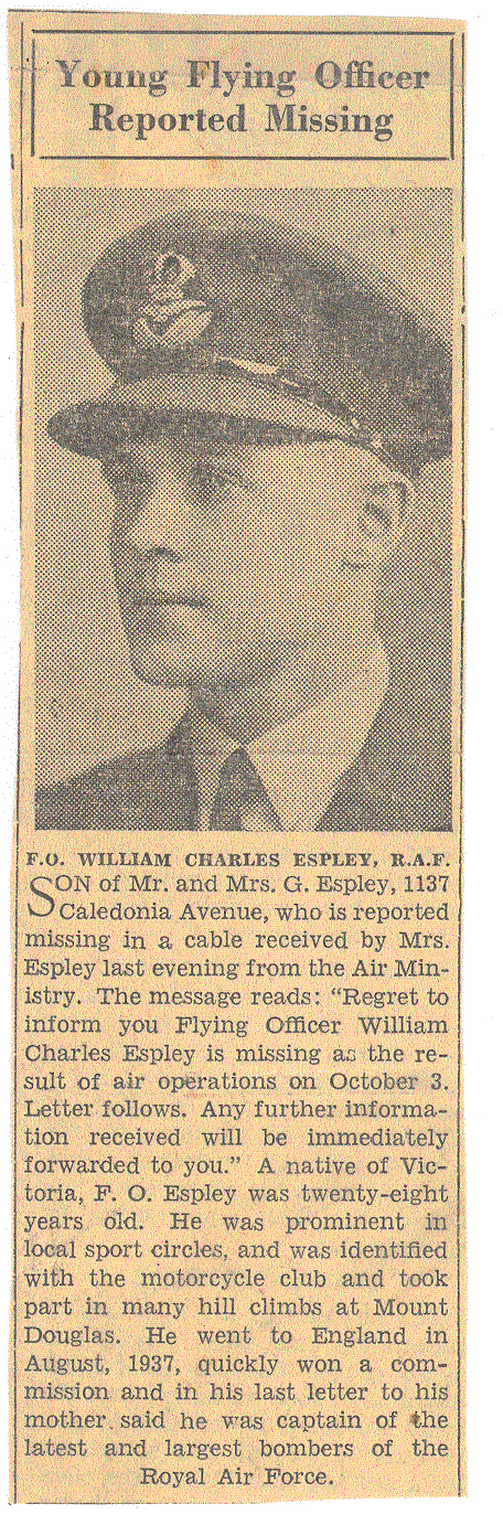 Newspaper Clipping – Newspaper clipping supplied to me by my Aunt in 2006.  It is from a Victoria newspaper in 1940.