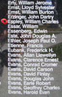 Memorial – Flying Officer William Charles Espley is also commemorated on the Bomber Command Memorial Wall in Nanton, AB … photo courtesy of Marg Liessens