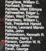Memorial – Flight Lieutenant Gordon William Neil Fanson is also commemorated on the Bomber Command Memorial Wall in Nanton, AB … photo courtesy of Marg Liessens