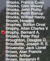 Memorial – Warrant Officer Class II Bernard Anthony Brophy is also commemorated on the Bomber Command Memorial Wall in Nanton, AB … photo courtesy of Marg Liessens