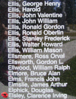 Memorial – Pilot Officer Clarence Irving Elsley is also commemorated on the Bomber Command Memorial Wall in Nanton, AB … photo courtesy of Marg Liessens