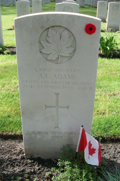 Grave Marker – Adegem Canadian War Cemetery - April 2017 … photo courtesy of Marg Liessens