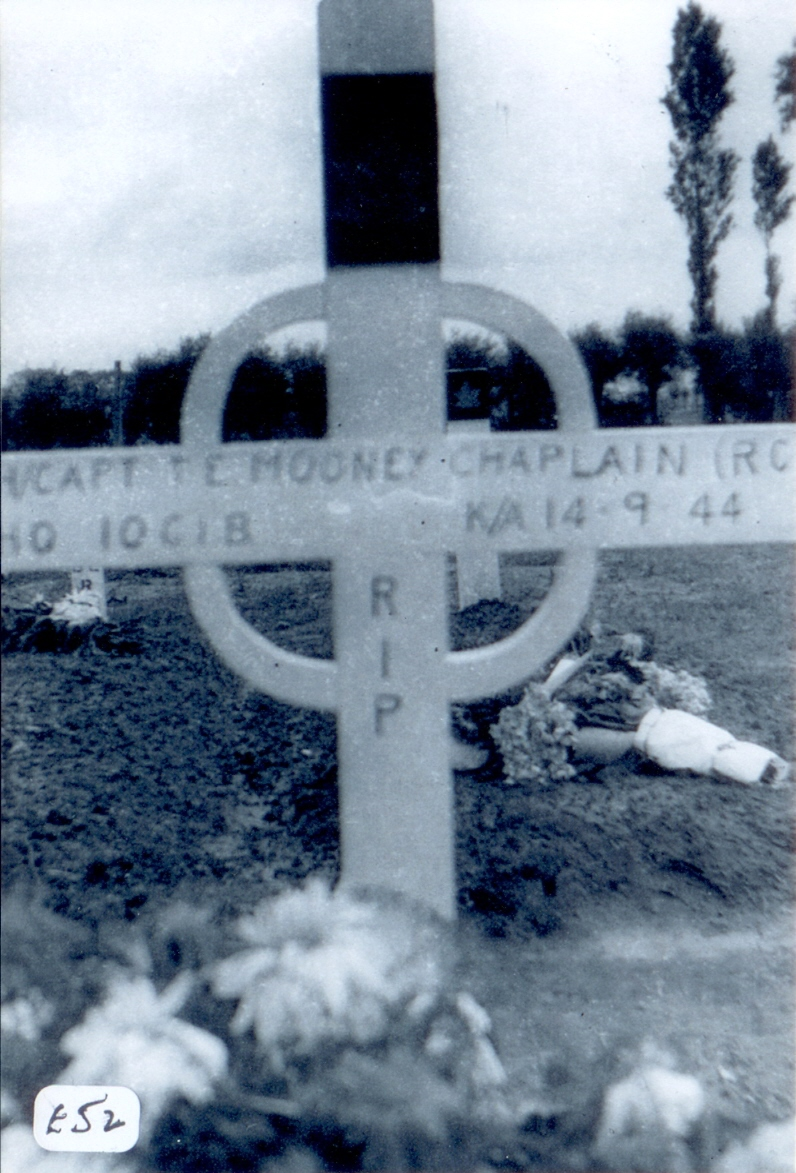 Temporary Grave Marker – The makeshift grave marker for Father Tom Mooney, 1944