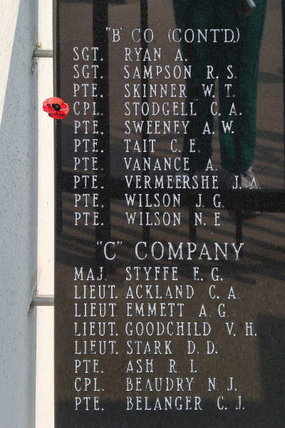 Memorial – Corporal Cyril Angus Stodgell is also commemorated on the Lake Superior Regiment (Motor) Memorial located in Hillcrest Park, Thunder Bay, ON … May 2018 ... photo courtesy of Marg Liessens