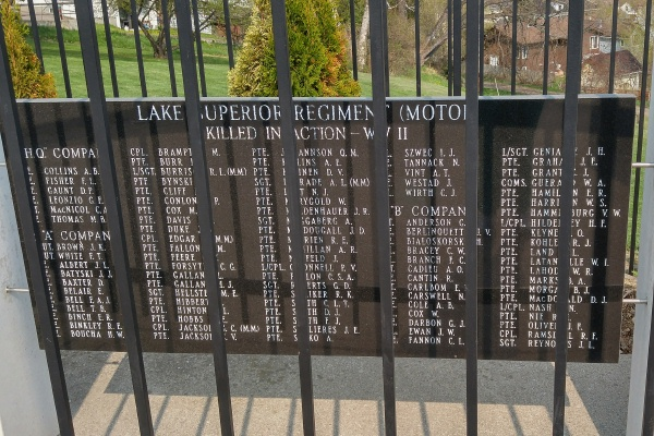 Memorial – Lake Superior Regiment (Motor) Memorial located in Hillcrest Park, Thunder Bay, ON … May 2018 ... photo courtesy of Marg Liessens