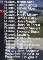 Memorial – Sergeant Harry Russell is also commemorated on the Bomber Command Memorial Wall in Nanton, AB … photo courtesy of Marg Liessens