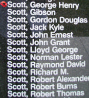 Memorial – Flight Sergeant George Henry Scott is commemorated on the Bomber Command Memorial Wall in Nanton, AB … photo courtesy of Marg Liessens