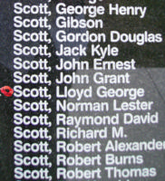 Memorial – Warrant Officer Class II Lloyd George Scott is commemorated on the Bomber Command Memorial Wall in Nanton, AB … photo courtesy of Marg Liessens