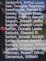 Memorial – Pilot Officer Donald Leslie Sehlin is commemorated on the Bomber Command Memorial Wall in Nanton, AB … photo courtesy of Marg Liessens