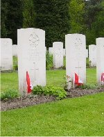 Row of Gravemarkers – This set of headstones is a crew from 431 Squadron, that went down over Hamburg, Germany on March 31, 1945, in Lancaster KB-859, coded SE-U. From left to right, the names read: Albert Dorey, Patrick Dennison, John Casey, Martin Hartog, Frederick Alty and John Mercer of the RAFVR.