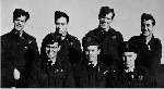 Group Photo – Back Row (l-r): P/O Albert 'Bert' Dorey, RCAF; Sgt. Laurence John 'Laurie' Mercer, RAF; F/O Patrick B. 'Red' Dennison, RCAF; F/O John Joseph 'Johnny' Casey, RCAF.  Front Row (l-r): F/Lt Patrick Joseph 'Pat' Hurley RCAF¿POW; F/O Martin 'Jack' Hartog, RCAF; F/O Frederick Roy 'Roy' Alty, RCAF.  Operation Summary: March 31, 1945 - 100 Halifaxes from 408, 415, 420, 425, 426, and 432 squadrons were joined by 100 Lancasters from 419, 424, 427, 428, 429, 431, 433, and 434 on an attack at the Blohm & Voss shipyards at Hamburg. The crews were over the target at between 17,000 and 19,500 feet, releasing 1,908,000 lbs of high explosives. According to reports, the target was cloud covered but extensive damage was caused in the industrial area of Hamburg. The 6 Group was in the last wave of the attack and was attacked by many ME-262s.  8 crews failed to return, mostly due to attacks by these aircraft.