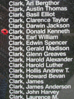 Memorial – Flight Sergeant Donald Kenneth Clark is also commemorated on the Bomber Command Memorial Wall in Nanton, AB … photo courtesy of Marg Liessens
