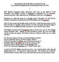 Essay – Details of the crew's last operation which was a daylight raid over Duisburg, Germany.
