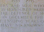 Inscription – Dedicatory inscription of the SAI WAN MEMORIAL.  This memorial  bears the names of more than 2,000 Commonwealth servicemen, including 228 Canadians.