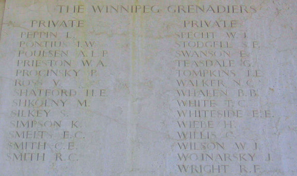 Inscription – Private STANLEY FREDRICK STODGELL is one of 27 members of the Winnipeg Grenadiers, Royal Canadian Infantry Corps who are commemorated on this panel of the Sai Wan Memorial.  He was one of 290 Canadian soldiers killed during the defense of Hong Kong, from December 8th to December 25th, 1941.