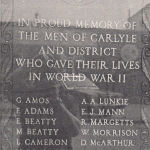 War Memorial – This memorial is located in Carlyle, Saskatchewan.
