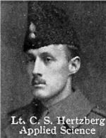Photo of Charles Hertzberg – World War I Photo of Charles Hertzberg From: The Varsity Magazine Supplement published by The Students Administrative Council, University of Toronto 1916.   Submitted for the Soldiers' Tower Committee, University of Toronto, by Operation Picture Me.