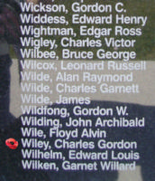 Memorial – Flight Lieutenant George William Wiley is also commemorated on the Bomber Command Memorial Wall in Nanton, AB … photo courtesy of Marg Liessens