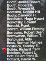 Memorial – Flight Lieutenant Air Gunner Richard Trent Botkin is also commemorated on the Bomber Command Memorial Wall in Nanton, AB … photo courtesy of Marg Liessens