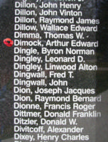 Memorial – Flight Sergeant Arthur Edward Dimock is also commemorated on the Bomber Command Memorial Wall in Nanton, AB … photo courtesy of Marg Liessens