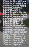 Memorial – Flight Sergeant Mason Argue Edwards is also commemorated on the Bomber Command Memorial Wall in Nanton, AB … photo courtesy of Marg Liessens