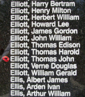Memorial – Flying Officer Thomas John Elliott is also commemorated on the Bomber Command Memorial Wall in Nanton, AB … photo courtesy of Marg Liessens