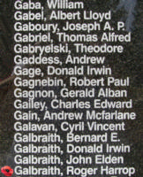 Memorial – Flight Lieutenant Roger Harrop Galbraith is also commemorated on the Bomber Command Memorial Wall in Nanton, AB … photo courtesy of Marg Liessens