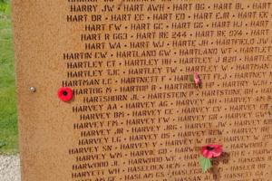 Memorial – Flying Officer Martin Hartog is also commemorated at the International Bomber Command Centre, Lincolnshire, UK - May 2019 … photo courtesy of Marg Liessens