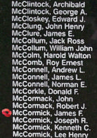 Memorial – Pilot Officer James Francis McCormick is also commemorated on the Bomber Command Memorial Wall in Nanton, AB … photo courtesy of Marg Liessens