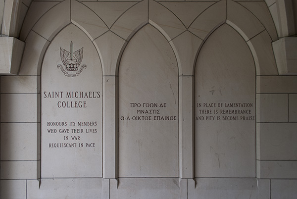 St. Michael's College Memorial Intro – Inscriptions in the stone walls of the slype between More and Fisher Houses on the University of Toronto campus commemorate the men of St. Michael's College (University of Toronto) and St. Michael's College School  (a private Catholic high school) who died in the First and Second World Wars and the Korean conflict.