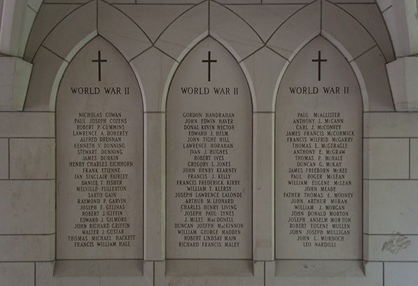Detail of St. Michael's College Memorial – Showing some of the Second World War names including that of James Francis McCormick.