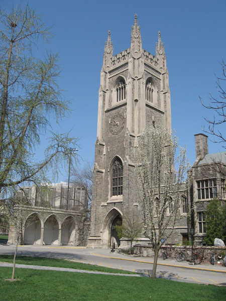 Soldiers' Tower – The Soldiers' Tower was built by the University of Toronto Alumni Association in 1924 as a memorial to the Great War of 1914-1918. The names of those who died in that conflict are carved on the Memorial Screen at photo left. After the Second World War, more names were carved in the Memorial Arch at the Tower's base. In total, almost 1200 names are inscribed.  A Memorial Room inside the Tower contains mementoes and artifacts, and a 51-bell carillon serves as the audio element of the living memorial to the alumni, students, faculty and staff who died in the World Wars. The Soldiers' Tower is the site of an annual Service of Remembrance. Photo: Kathy Parks, Alumni Relations.